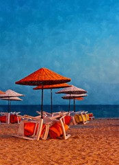 Digital painting of colorful beach umbrellas on a deserted beach