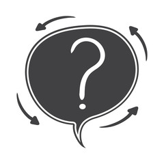Hand drawn Vector speech bubble with question mark