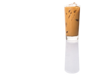 Ice coffee in a glass over white background