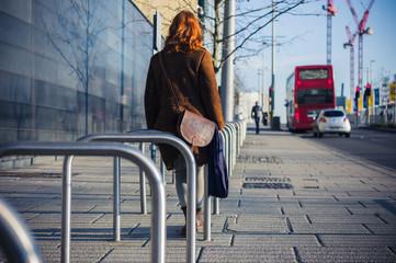 Woman walking in a city in the winter