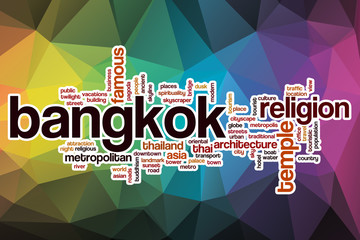 Bangkok word cloud with abstract background