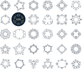 Collection of abstract geometrical icons, elements and frames