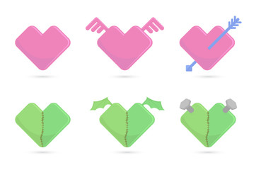 Vector illustration of hearts for St. Valentines day