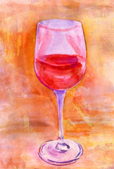 Watercolor glass of wine on textured background