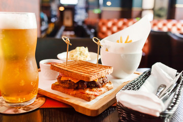 sandwich with beer