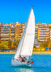 Sailing boat during regatta at Saronic gulf in Athens Greece