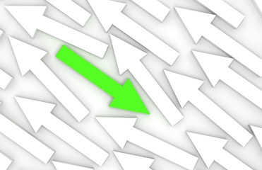 Abstract 3d illustration, one green arrow goes opposite