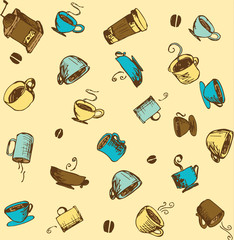 Hand-drawn Coffee Sketchy Icons and Seamless Pattern