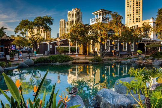 Pond and buildings at Seaport Village, in San Diego, California.