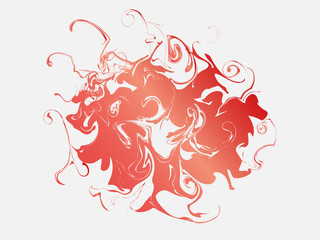 Abstract red smoke shape