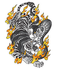 Tiger cobra fire tattoo graphic