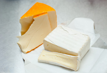 cheese brie soft sorts, sliced, french gourmet