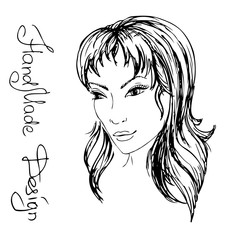 girl face painted by hand,  vector illustration