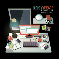 flat 3d isometric night office routine illustration