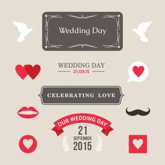Wedding label, badges, stamp and floral design elements