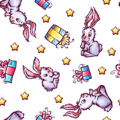 Vector seamless pattern with cartoon rabbits and gift boxes
