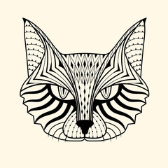 cat zentangle design,vector illustration
