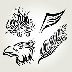 Hand drawn ink Eagle wing feather