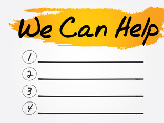 We Can Help Blank List, vector concept background