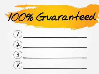 100 Percent Guaranteed Blank List, vector concept
