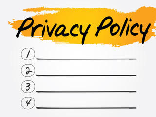 Privacy Policy Blank List, vector concept background