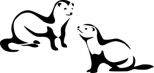 stylized ferret Wall mural