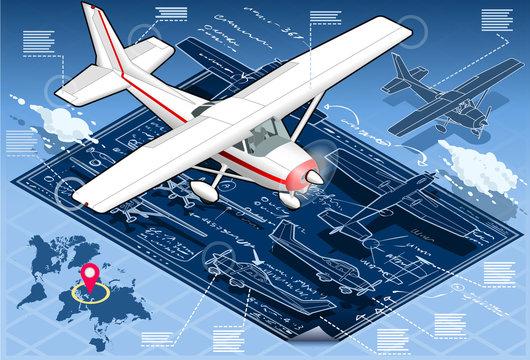 Isometric Infographic Airplane Blue Print