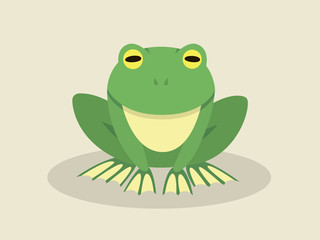 Sitting Frog In Flat Style
