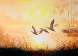 oil painting - Cranes at sunset, art work