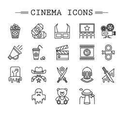 Cinema web silhouettes collection vectir