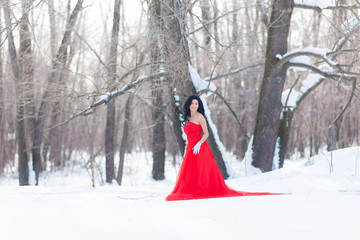 Brunette in a red dress in the winter forest.