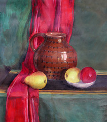 still life with fruit and a pot
