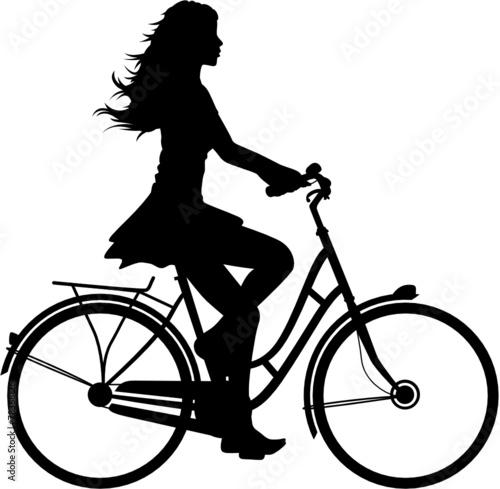 Quot Fahrradfahrerin Vektor Silhouette Quot Stockfotos Und