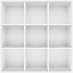 3d white shelves for show case