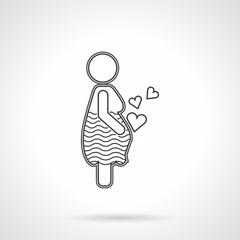 Flat line icon for motherhood