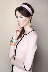 Portrait of the beautiful brunette woman in pastel stylization