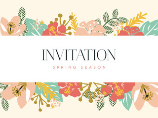 Invitation card with floral background. Vector design.