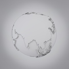 Planet on a grey background.