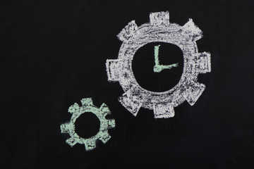 Chalked gears and clock on chalkboard