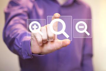 Search magnifier business web loupe icon communication set