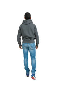 young man, back, full body in a white background