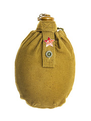 Army flask with a badge a sickle and a hammer a red star