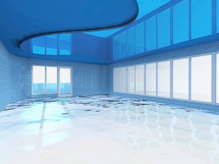 3D rendering. swimming pool with lot of windows