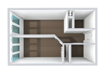3D rendering. Model of the one-room apartment.