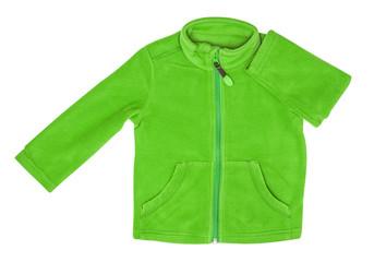 Green fleece jacket, isolated