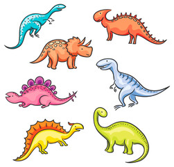 Cartoon colorful dinosaurs