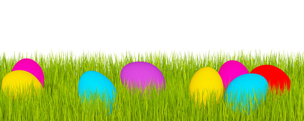 Easter banner, green grass and Easter eggs
