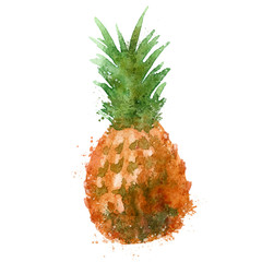 Pineapple vector logo design template. food or watercolor icon.