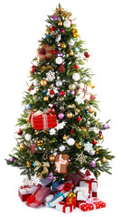 Decorated Christmas tree with presents under it isolated