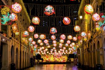 Chinese New year illumination at the Senado Square in Macao